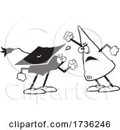 Black And White Dunce Cap Arguing With A Graduation Cap
