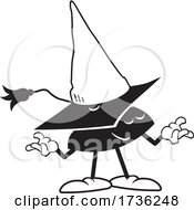 Black And White Wise Fool Mortar Board Character Wearing A Dunce Cap