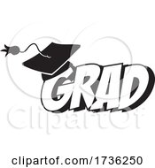 Black And White Mortar Board On Grad Text