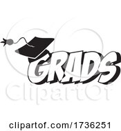 Black And White Mortar Board On Grads Text