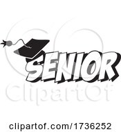 Black And White Mortar Board On Senior Text