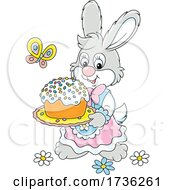 Bunny Rabbit Carrying An Easter Cake