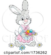 Bunny Rabbit Carrying Dyed Easter Eggs