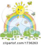 Cheerful Sun With Butterflies Over A Rainbow