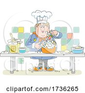 Chubby Male Chef Making An Easter Cake