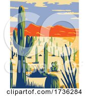 Saguaro National Park With Giant Saguaro Cactus In Sonoran Desert Pima County Arizona WPA Poster Art