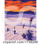 White Sands National Park With Soaptree Yucca In Tularosa Basin New Mexico WPA Poster Art