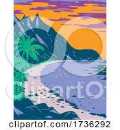 National Park Of American Samoa Ofu Beach United States Territory WPA Poster Art