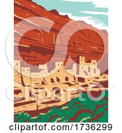 Mesa Verde National Park With Ancestral Puebloan Cliff Dwellings In Colorado WPA Poster Art by patrimonio
