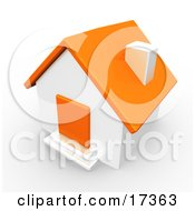 Orange And White House With An Orange Door Clipart Illustration