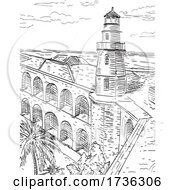Dry Tortugas National Park Site Of Fort Jefferson And Garden Key Lighthouse Florida Woodcut Black And White