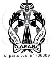 Poster, Art Print Of Queen Alexandras Royal Army Nursing Corps Or Qaranc Badge Retro Black And White