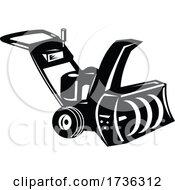 Snow Blower Or Snow Thrower Cartoon Retro Woodcut Black And White