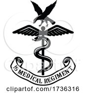 Emblem Of The 16 Medical Regiment Black And White by patrimonio