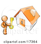 Orange Businessman Holding A Skeleton Key And Standing In Front Of A House With A Coin Slot And Keyhole Clipart Illustration