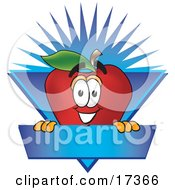 Clipart Illustration Of A Red Apple Character Mascot Label With A Burst