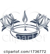 Oil Candle And Lotus Flowers