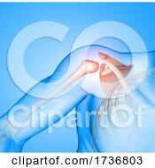3D Male Medical Figure With Shoulder Socket Highlighted