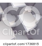 3D Modern Abstract Background With Bevelled Extruding Cubes