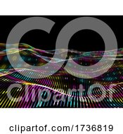 3D Techno Background With Neon Coloured Flowing Particle Design