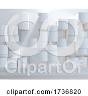 3D Abstract Background With A Wall Of Extruding Cubes