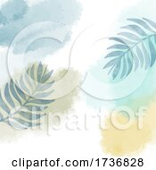Abstract Hand Painted Watercolour Background With Leaf Elements