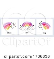 Poster, Art Print Of Artistic Illustration Of Rainbows With Star Clouds And Unicorn