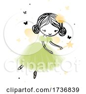 Poster, Art Print Of Cute Forest Fairy Flying In Pretty Dress Surrounded By Butterflies And Sparks