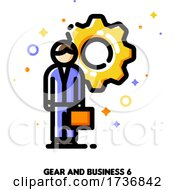 Icon Of Entrepreneur With Briefcase On A Background Of Gear For Technical Director Or Engineering Manager Concept