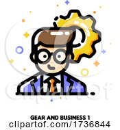Icon Of Businessman On A Background Of Gear For Technology Industry Leader Or High Tech Strategy Director Concept