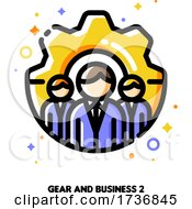 Icon Of Three Business Persons On A Background Of Gear For Technical Support Or Development Optimization Team Concept