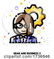 Icon Of Businesswoman On A Background Of Gear For Technology Industry Leader Or High Tech Strategy Director Concept