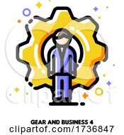 Icon Of Businessman On A Background Of Gear For Technical Director Or Engineering Manager Concept