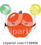 Cute Apple Fruit With Balloons