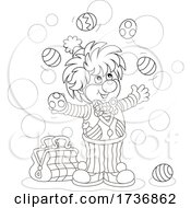 Poster, Art Print Of Black And White Clown Juggling