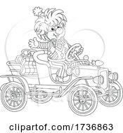 Poster, Art Print Of Black And White Clown Waving And Driving A Car