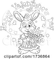 Black And White Sweet Rabbit Holding Flowers Under Happy Valentines Day Text