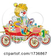 Clown Waving And Driving A Car by Alex Bannykh