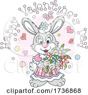 Poster, Art Print Of Sweet Rabbit Holding Flowers Under Happy Valentines Day Text