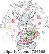 Sweet Rabbit Holding Flowers Under Happy Valentines Day Text