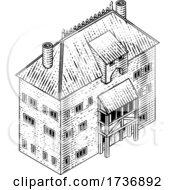 02/14/2021 - Medieval Building Map Icon Vintage Illustration