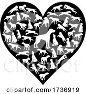 Poster, Art Print Of Dog Heart Silhouette Concept