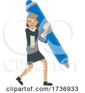 Business Woman Holding Pen Mascot Concept