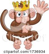 Monkey King Crown Cartoon Animal Waving Pointing