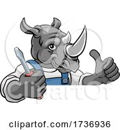 Rhino Electrician Handyman Holding Screwdriver