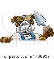 Bulldog Bricklayer Builder Holding Trowel Tool