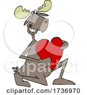 Poster, Art Print Of Romantic Moose Kneeling With A Heart