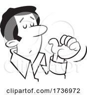 Cartoon Black And White Businessman Gesturing To Himself