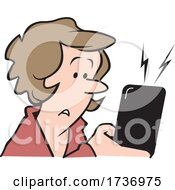 Cartoon Concerned Woman Receiving A Text Message