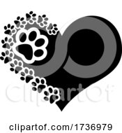 Poster, Art Print Of Black Heart With Dog Paw Prints